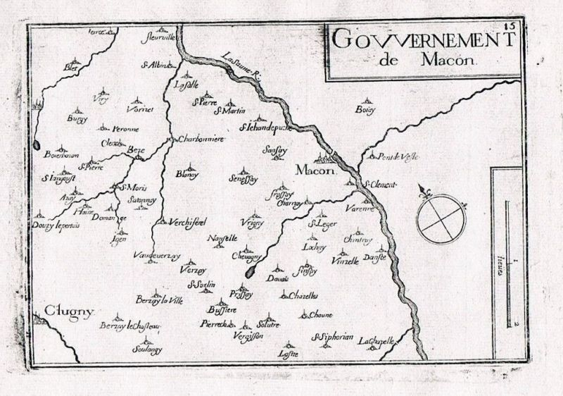 1660 - Macon Saone-et-Loire Burgund Bourgogne France gravure Kupferstich Tassin
