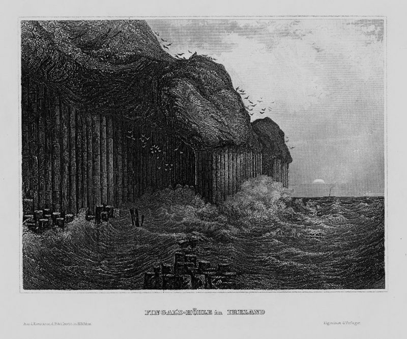 1840 - Fingal Höhle Cave Ireland Irland Great Britain engraving Stahlstich