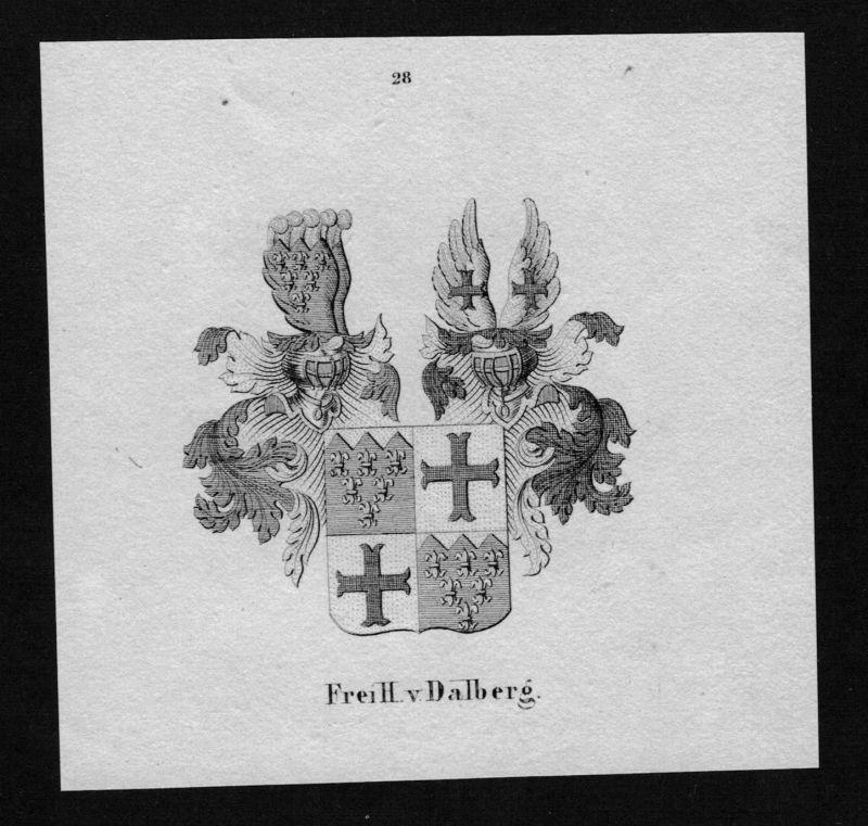 1840 - von Dalberg Wappen Adel coat of arms heraldry Heraldik Lithographie