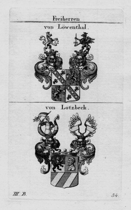 1820- Löwenthal Lotzbeck Wappen Adel coat of arms heraldry Heraldik Kupferstich