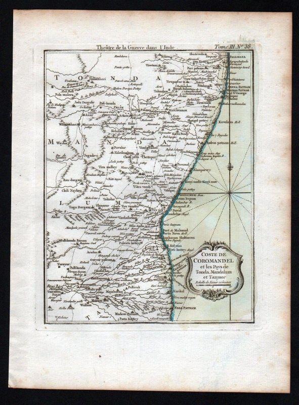 1764 - Coromandel coast India Indien Bellin handcolored antique map