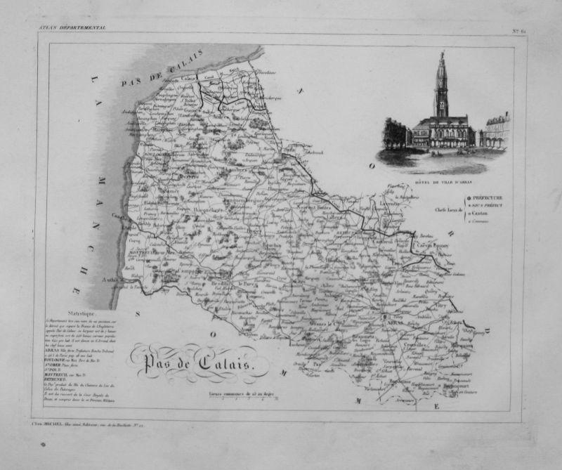 1830 - Departement Pas de Calais carte gravure Kupferstich Karte map France