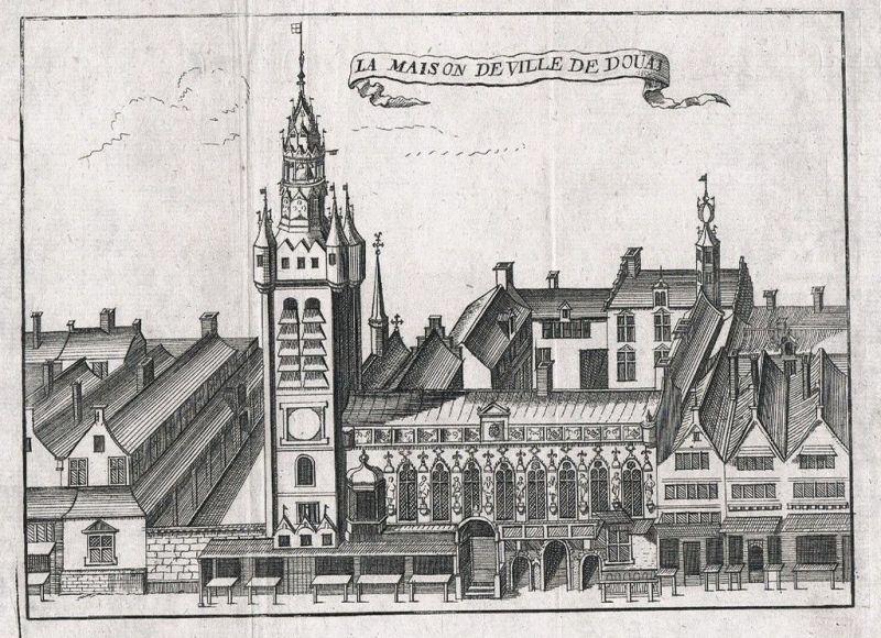1700 - Douai Maison de la ville gravure Kupferstich engraving