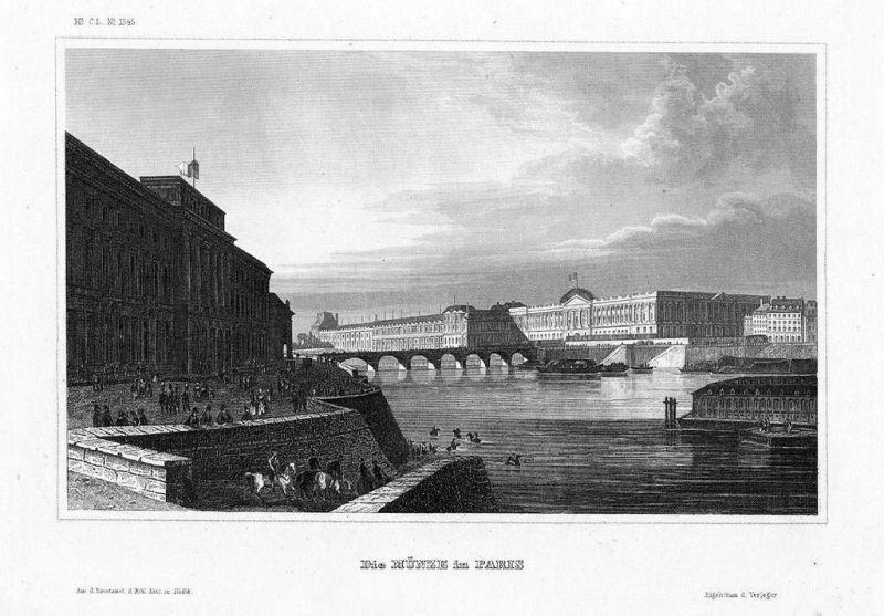 1840 - Monnaie de Paris gravure Original Stahlstich engraving