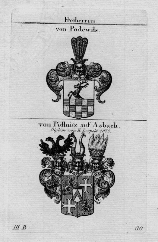 1820 - Podewils Pollnitz Asbach Wappen Adel coat of arms herakdry Kupferstich