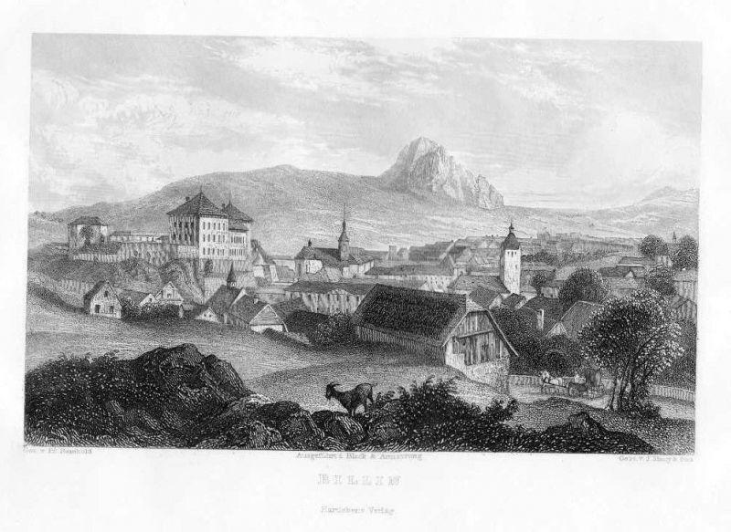 1840 - Billin view Gesamtansicht Polen Poland Original Stahlstich engraving