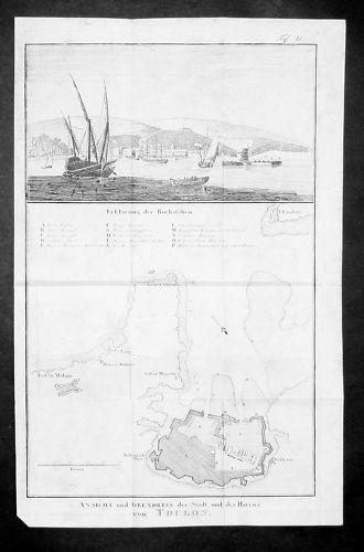1800 - Toulon Var France estampe gravure Kupferstich engraving map