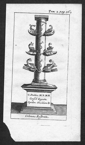 1700 - Roma Colonne Rostrale acquaforte Kupferstich veduta engraving Italia