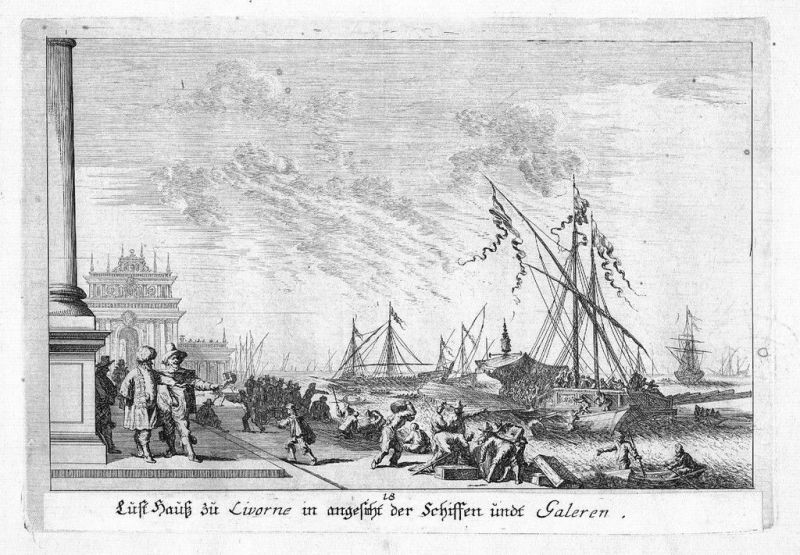 1680 - Livorno Porto Toscana incisione Kupferstich acquaforte veduta
