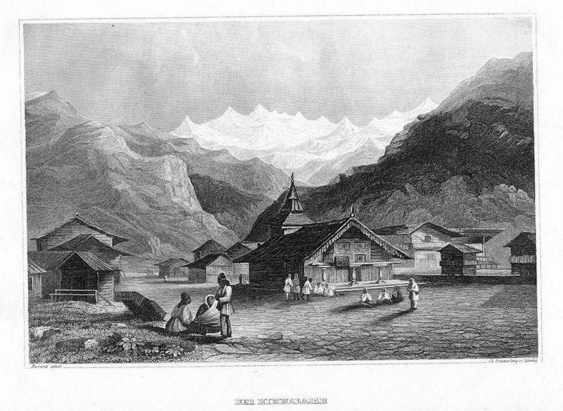 1840 - Himalaya India Indien Asien Original Stahlstich engraving