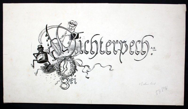 1900 - Adolf Hengeler - Original Zeichnung drawing signiert Dichterpech Tinte