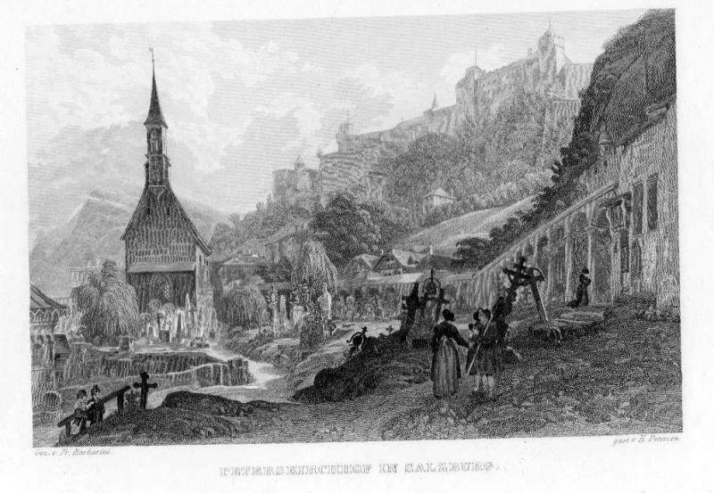 1840 - Salzburg Peterskirchhof Friedhof Österreich Austria Stahlstich engraving