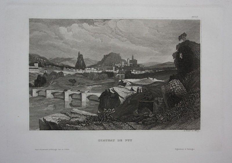 1840 - Chateau de Puy vue Frankreich France gravure engraving Stahlstich