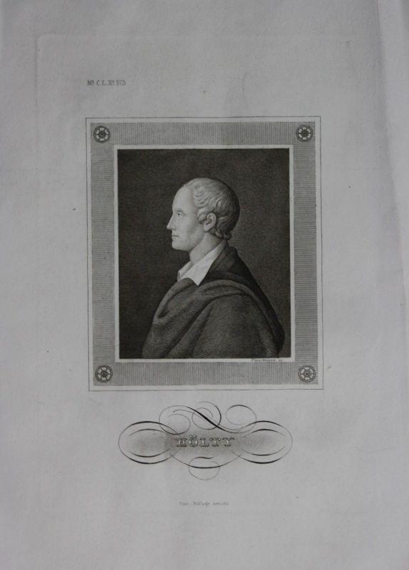 1850 - Ludwig Christoph Heinrich Hölty Dichter engraving Stahlstich Portrait