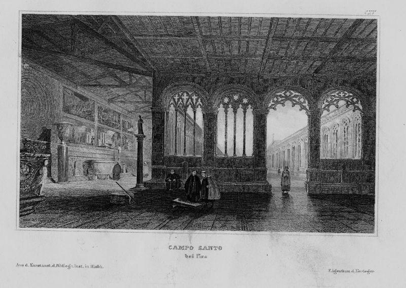 1840 - Camposanto Monumentale incisione Pisa Italien Italia Original Stahlstich