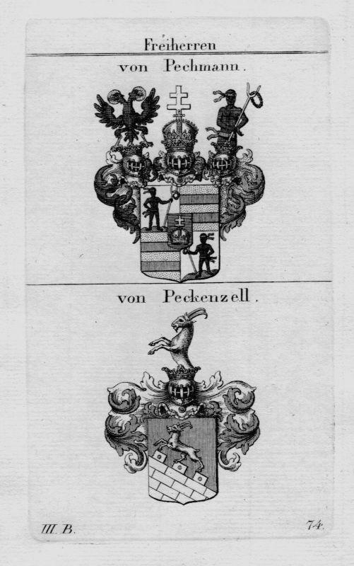 1820 - Pechmann Peckenzell Wappen Adel coat of arms heraldry Kupferstich