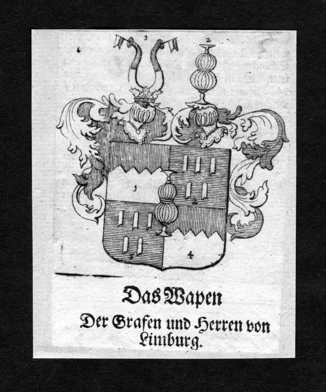 1750 - Limburg Wappen Adel coat of arms heraldry Heraldik Kupferstich