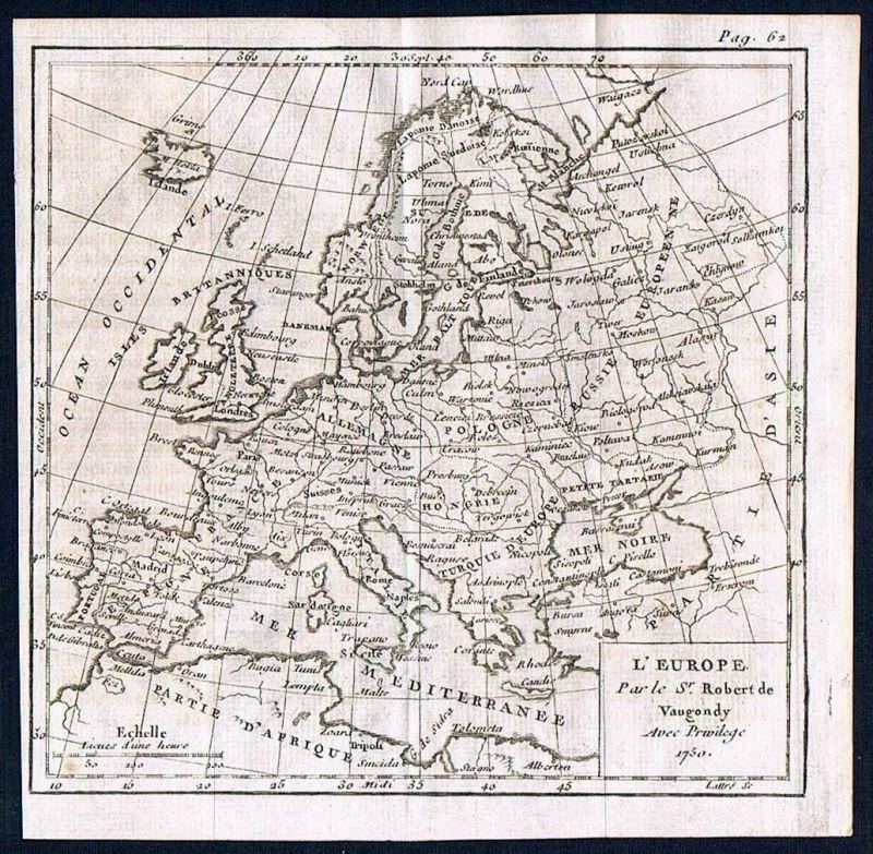 1750 - Europe Europa continent Kontinent Kupferstich Karte map Vaugondy