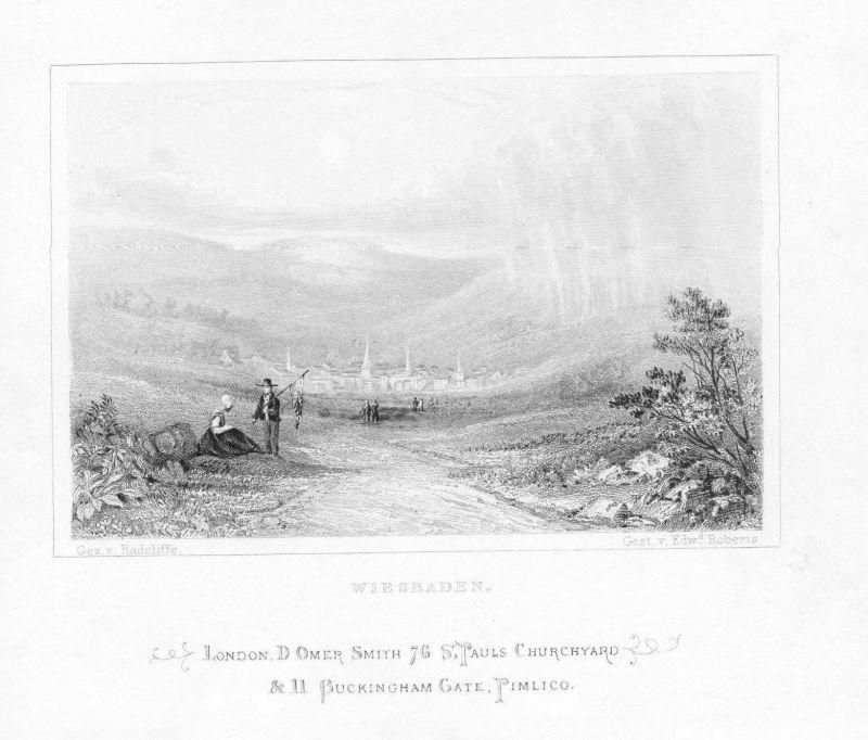 1840 - Wiesbaden view Gesamtansicht Bauern Hessen engraving Original Stahlstich
