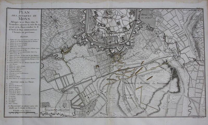 1760 - Mons Bergen Hainaut Hennegau Belgique map Karte Kupferstich gravure