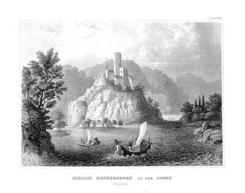 1840 - Schloss Heckersdorf Donau Boote Bayern Bavaria Stahlstich engraving