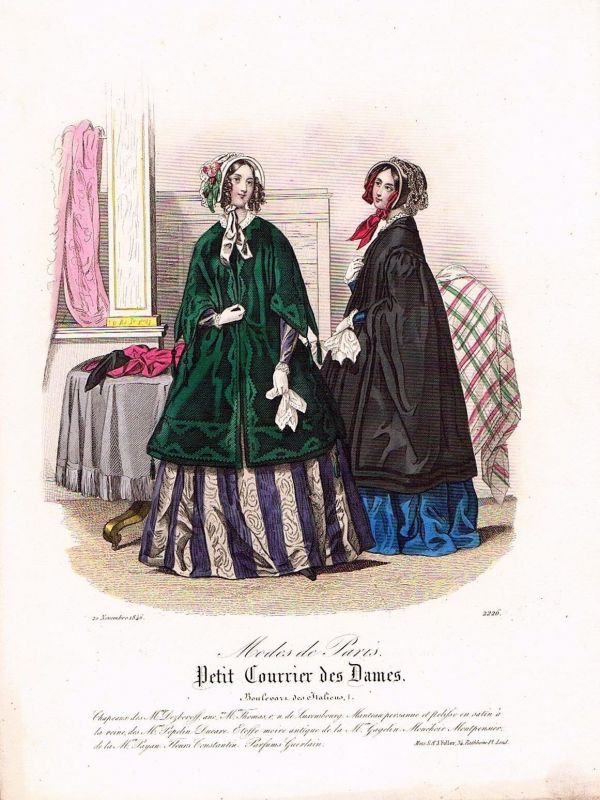 1846 Biedermeier Mode Kupferstich victorian fashion antique print etching  89724