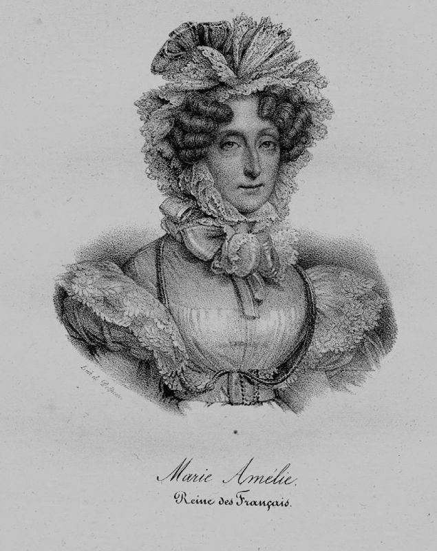 1840 - Maria Amalia von Neapel-Sizilien Königin Frankreich Lithographie Portrait
