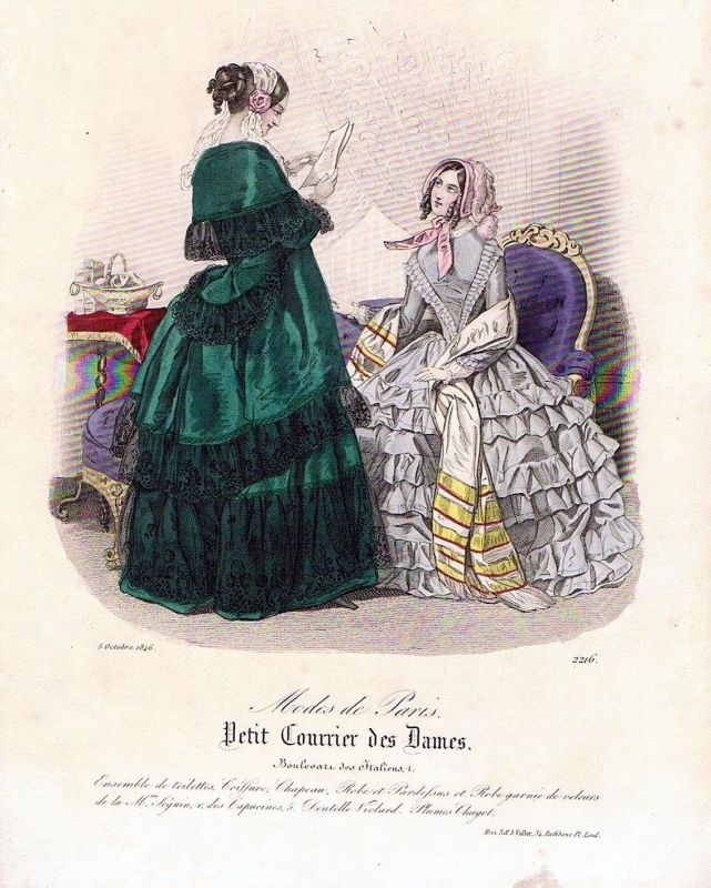 1846 Biedermeier Mode Kupferstich victorian fashion antique print etching  89737