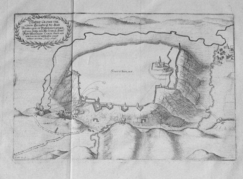 1650 - Obermarsberg Marsberg Belagerung Original Kupferstich Merian