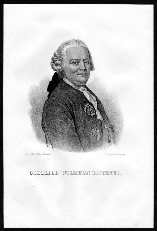 1840 - Gottlieb Wilhelm Rabener Schriftsteller Dresden Lithographie Portrait