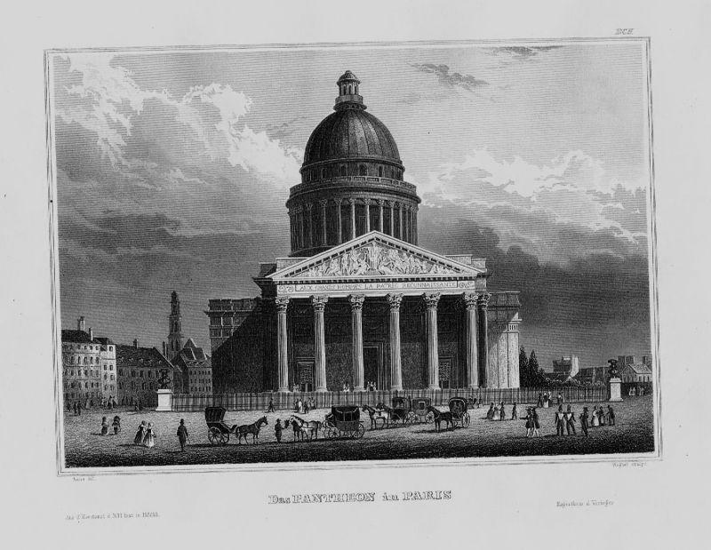 1840 - Paris Pantheon Innenstadt Pferde Frankreich France Original Stahlstich