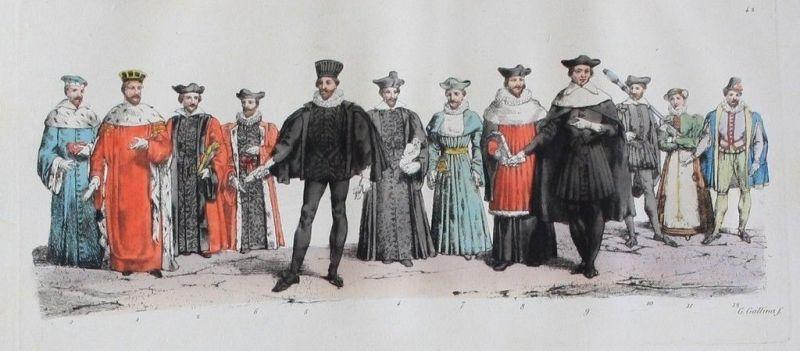 1825 - Mittelalter Adel König king Original Aquatinta aquatint antique print