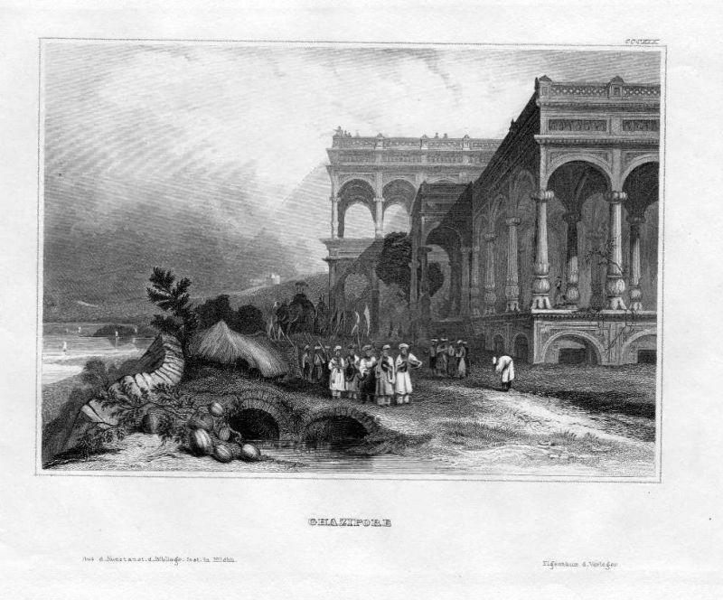 1850 - Ghazipur Lottar Pradesh Varanasi Indien India engraving Stahlstich