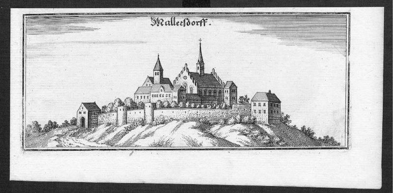 1650 - Mallersdorf-Pfaffenberg Kupferstich Merian gravure engraving