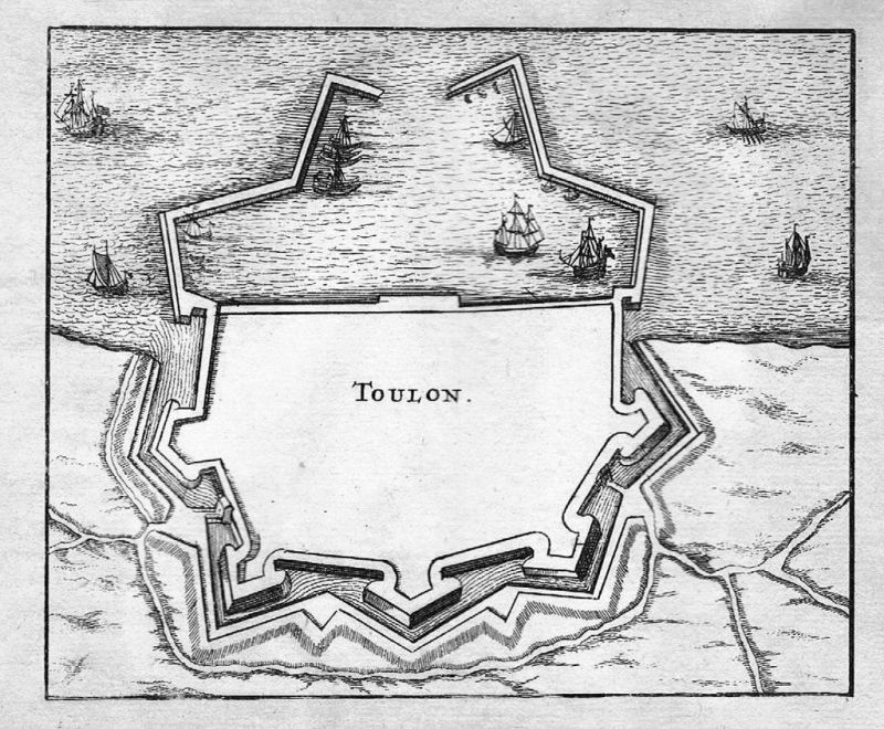 1700 - Toulon Var gravure estampe Original Kupferstich engraving