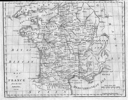 1790 - France Frankreich Karte Map Kupferstich