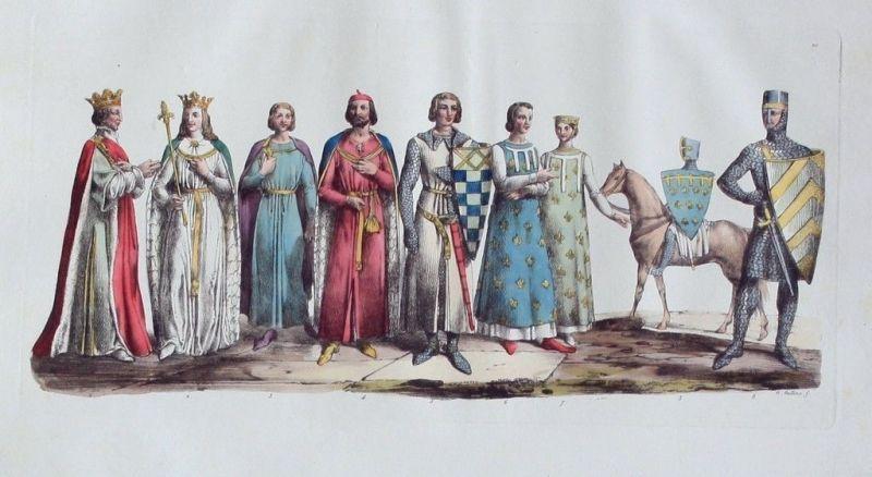 1825 - Könige Mittelalter Ritter costumes Aquatinta aquatint antique print