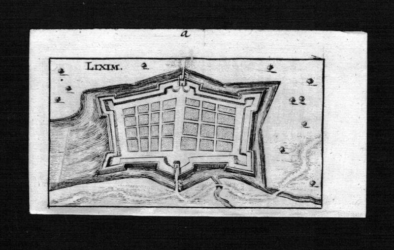 1690 - Lixheim Morselle Lorraine Lothringen France gravure Kupferstich Riegel
