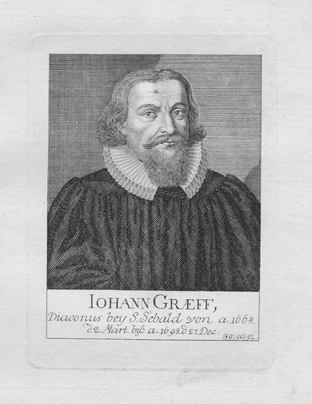 18. Jh. Johann Gräff Diakon Theologe St. Sebald Sebalduskirche Nürnberg Portrait