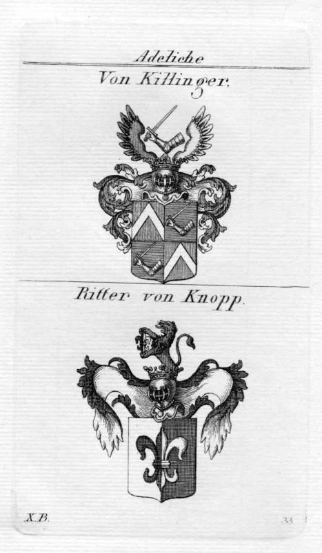 1820 - Killinger Knopp Wappen Adel coat of arms heraldry Heraldik Kupferstich