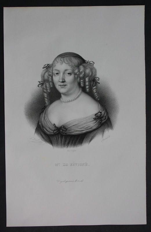 1830 - Marie de Sevigne Autorin author Lithographie Portrait Folio