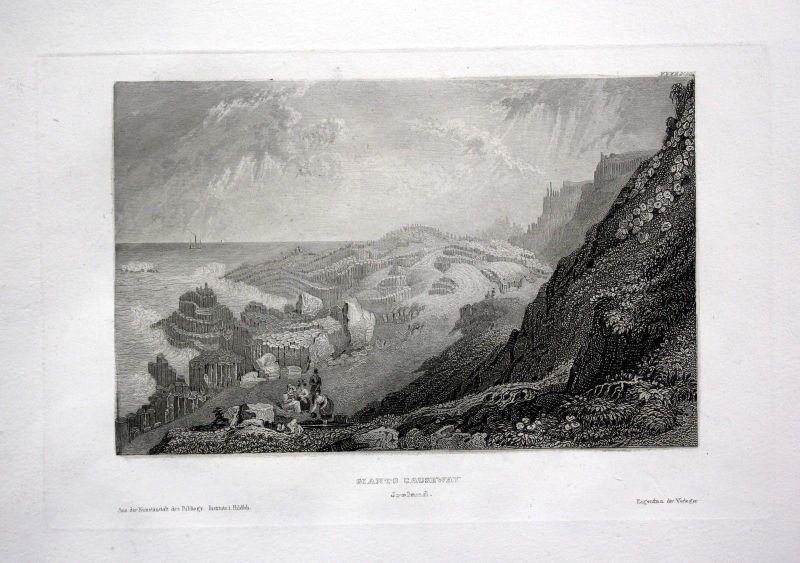 1850 - Giants Causeway Giant Ireland United Kingdom engraving antique print