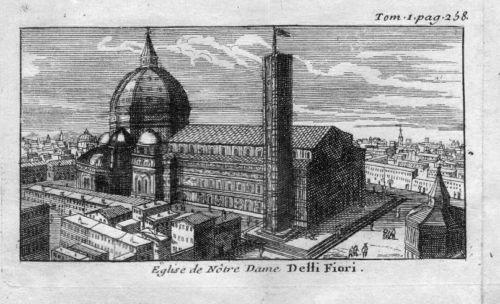 1720 - Firneze Italia Incisione in rame Kupferstich acquaforte veduta