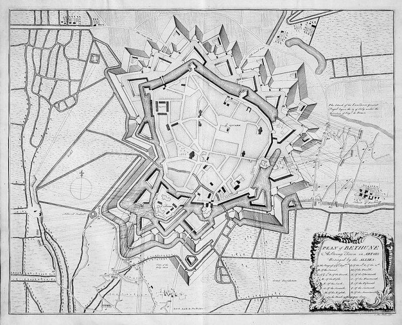 1740 - Siege de Bethune gravure estampe map carte battle bataille