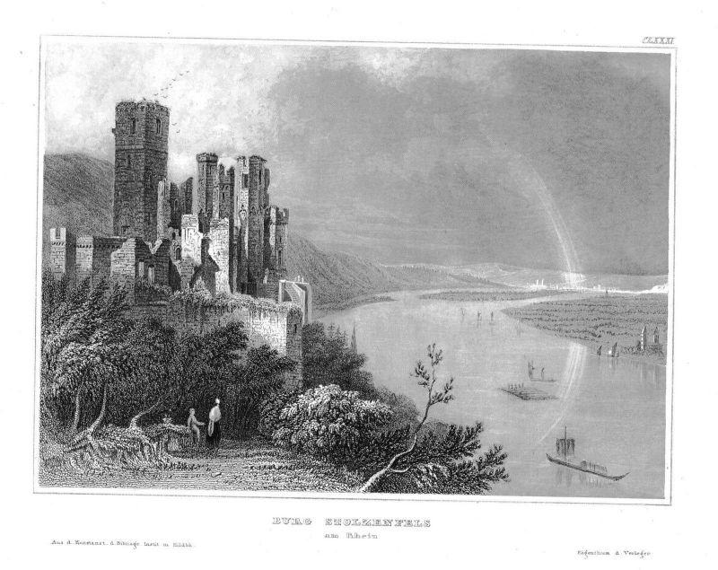 1840 - Burg Schloss Stolzenfels am Rhein Koblenz Stahlstich engraving Original