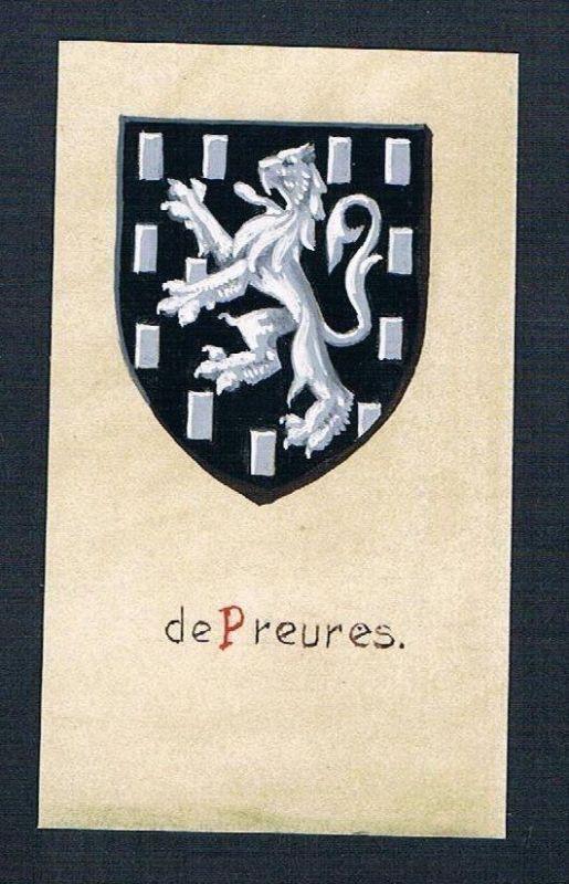 19./20. Jh. - de Preueres Blason Aquarelle Heraldik coat of arms heraldique