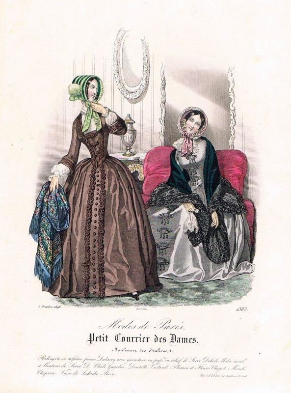 1848 Biedermeier Mode Kupferstich victorian fashion antique print etching  62265