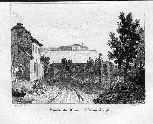 1840 - Schloss Johannisberg Geisenheim Stahlstich engraving gravure