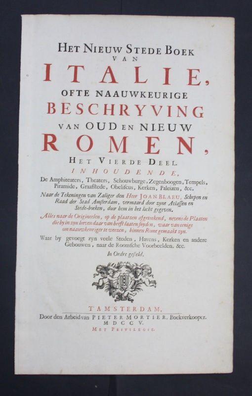 1705 Blaeu Mortier Italia town Book Atlas title Titel Roma Rome Rom Italy