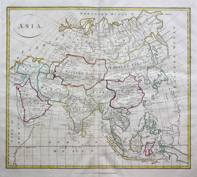1808 Asia Asien China Russland Russia Arabien Arabia Karte map Kupferstich